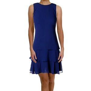 Lauren Ralph Lauren Blue Tyree Tiered Dress, 12